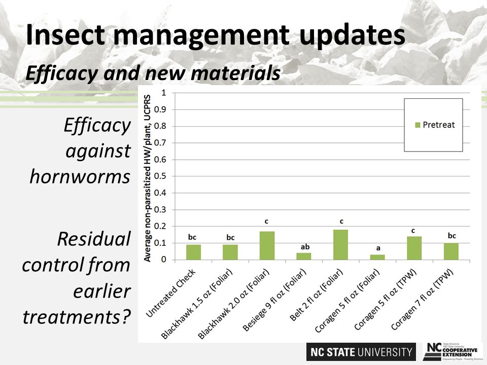 Insect management updates Efficacy and new materials Efficacy against hornworms Residual control from earlier treatments?