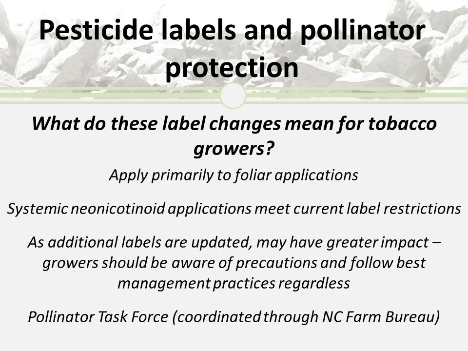 Pesticide labels and pollinator protection What do these label changes mean for tobacco growers? Apply primarily to foliar applications Systemic neoni