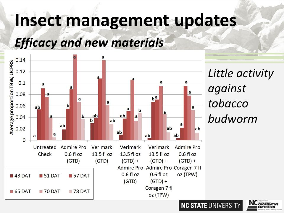Insect management updates Efficacy and new materials Little activity against tobacco budworm