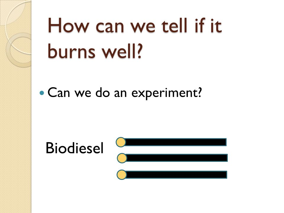 How can we tell if it burns well? Can we do an experiment? Biodiesel