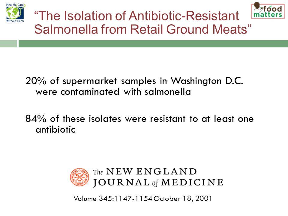 20% of supermarket samples in Washington D.C.