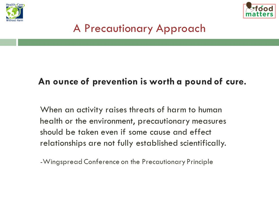 A Precautionary Approach An ounce of prevention is worth a pound of cure.