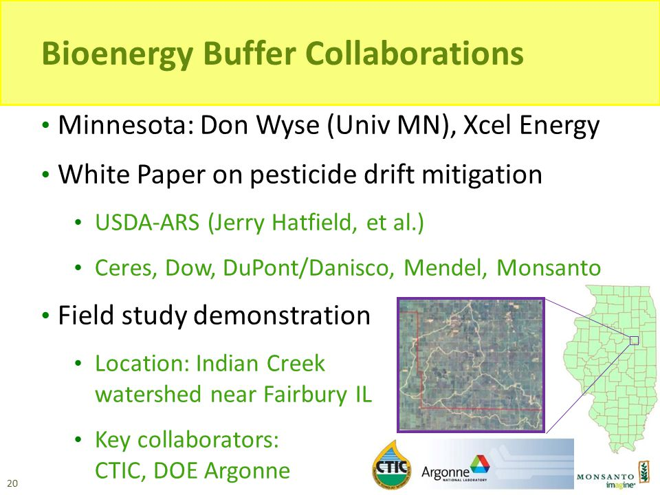 Bioenergy Buffer Collaborations Minnesota: Don Wyse (Univ MN), Xcel Energy White Paper on pesticide drift mitigation USDA-ARS (Jerry Hatfield, et al.)