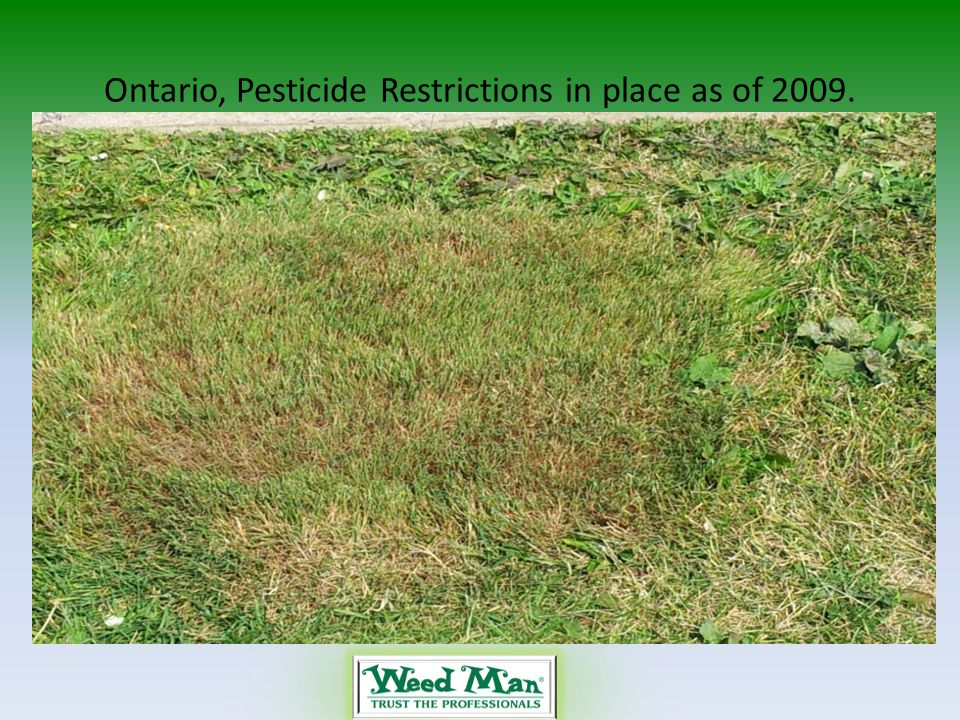 Ontario, Pesticide Restrictions in place as of 2009.