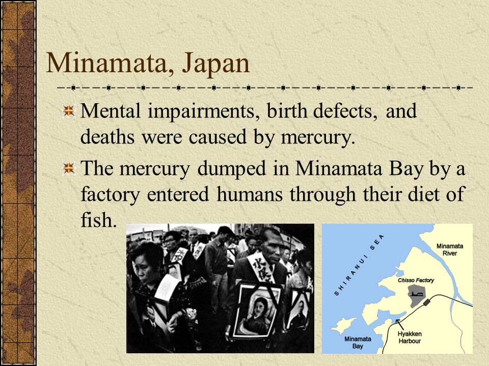 Minamata, Japan Mental impairments, birth defects, and deaths were caused by mercury. The mercury dumped in Minamata Bay by a factory entered humans t