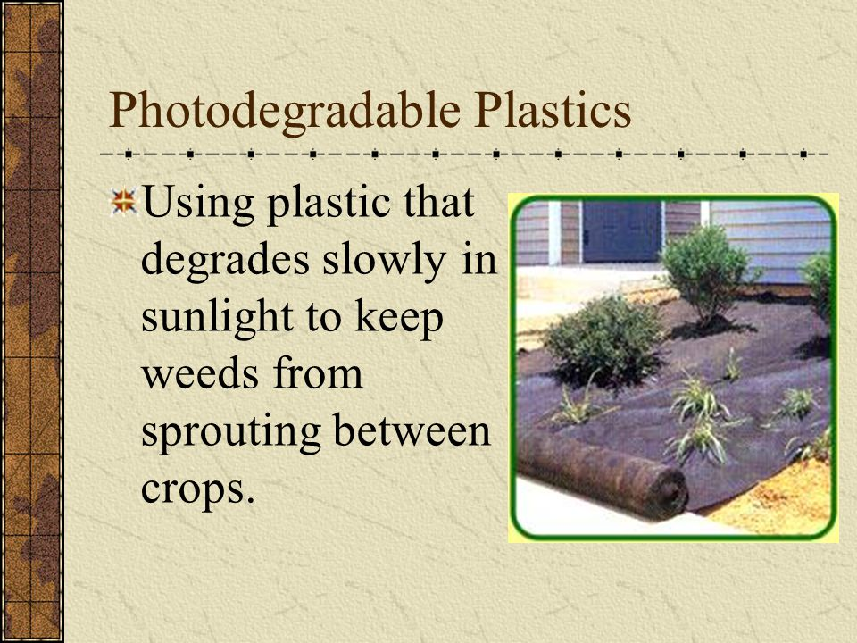 Photodegradable Plastics Using plastic that degrades slowly in sunlight to keep weeds from sprouting between crops.