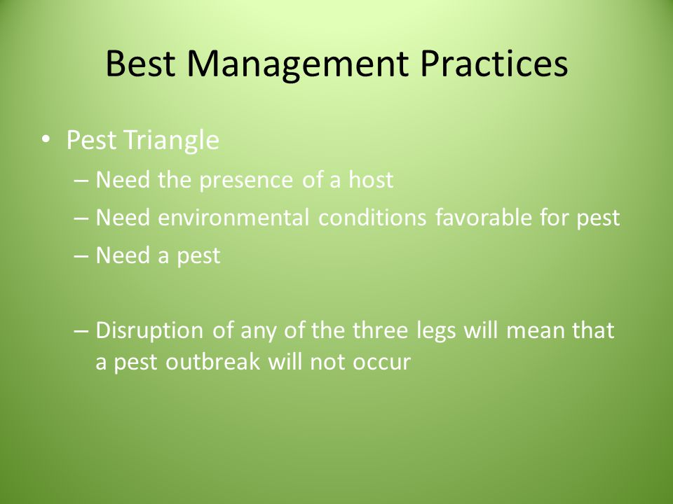 Best Management Practices Pest Triangle – Need the presence of a host – Need environmental conditions favorable for pest – Need a pest – Disruption of