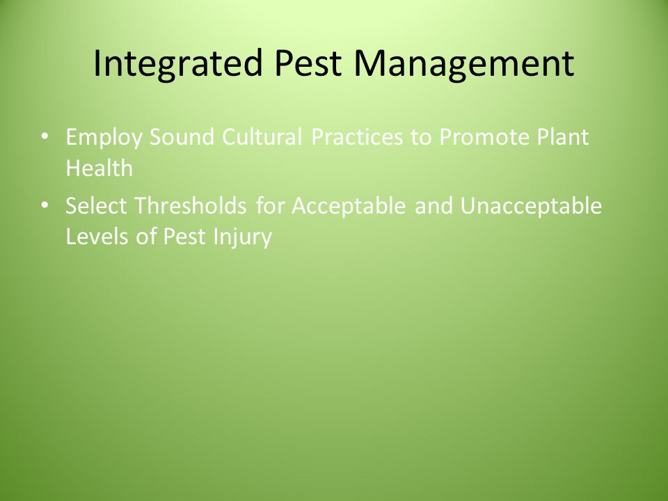 Integrated Pest Management Employ Sound Cultural Practices to Promote Plant Health Select Thresholds for Acceptable and Unacceptable Levels of Pest Injury Scout and Monitor Potential Pest Populations
