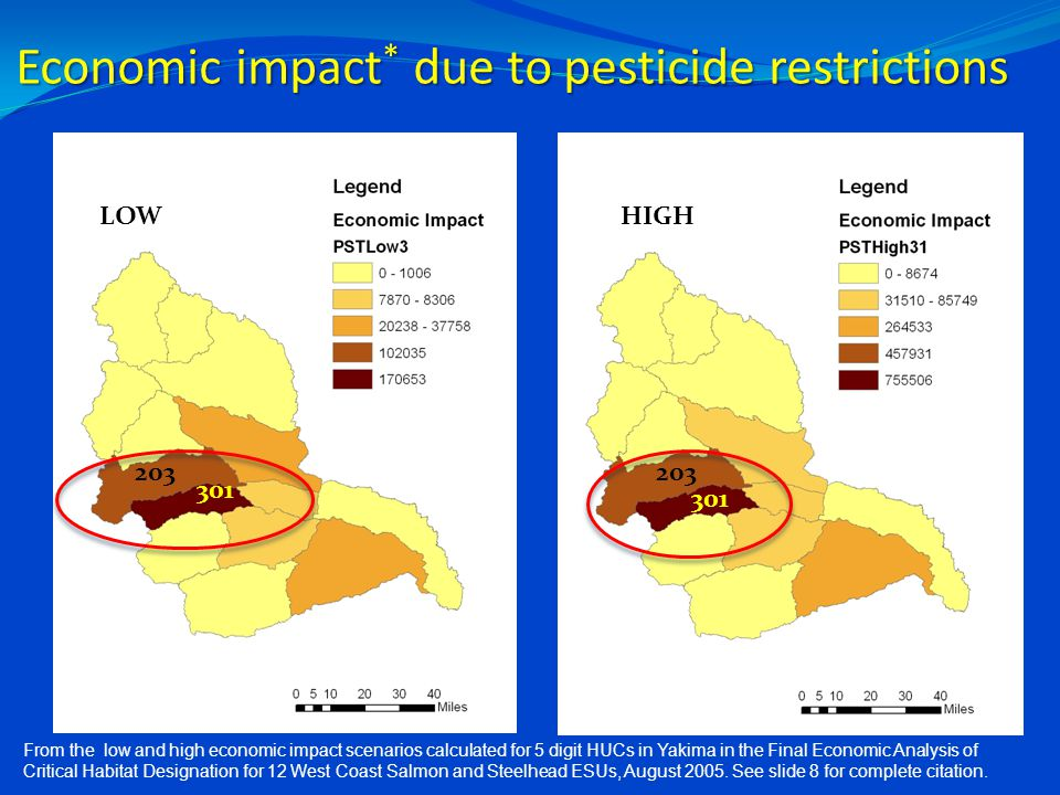 Economic impact * due to pesticide restrictions LOWHIGH 203 301 From the low and high economic impact scenarios calculated for 5 digit HUCs in Yakima in the Final Economic Analysis of Critical Habitat Designation for 12 West Coast Salmon and Steelhead ESUs, August 2005.