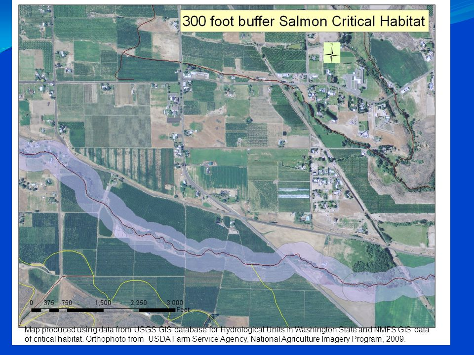 Map produced using data from USGS GIS database for Hydrological Units in Washington State and NMFS GIS data of critical habitat. Orthophoto from USDA