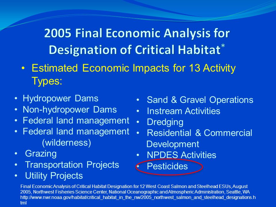 Estimated Economic Impacts for 13 Activity Types: Hydropower Dams Non-hydropower Dams Federal land management Federal land management (wilderness) Gra