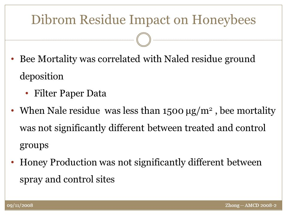 Dibrom Residue Impact on Honeybees Zhong -- AMCD 2008-2 09/11/2008 Bee Mortality was correlated with Naled residue ground deposition Filter Paper Data When Nale residue was less than 1500 μg/m 2, bee mortality was not significantly different between treated and control groups Honey Production was not significantly different between spray and control sites