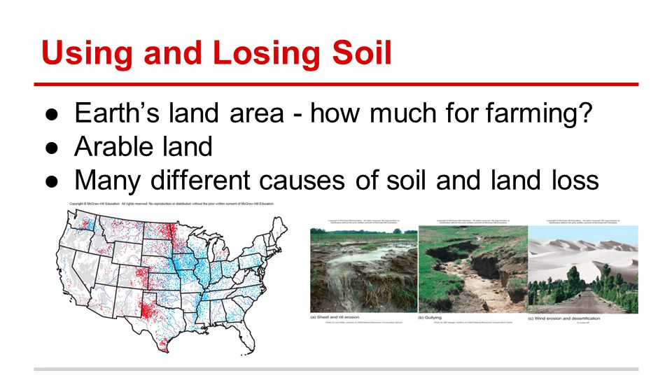 Using and Losing Soil ●Earth's land area - how much for farming.