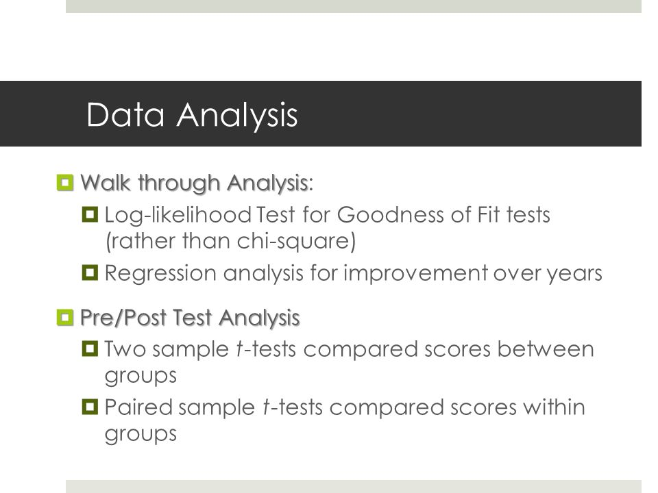 Data Analysis  Walk through Analysis  Walk through Analysis:  Log-likelihood Test for Goodness of Fit tests (rather than chi-square)  Regression analysis for improvement over years  Pre/Post Test Analysis  Two sample t-tests compared scores between groups  Paired sample t-tests compared scores within groups