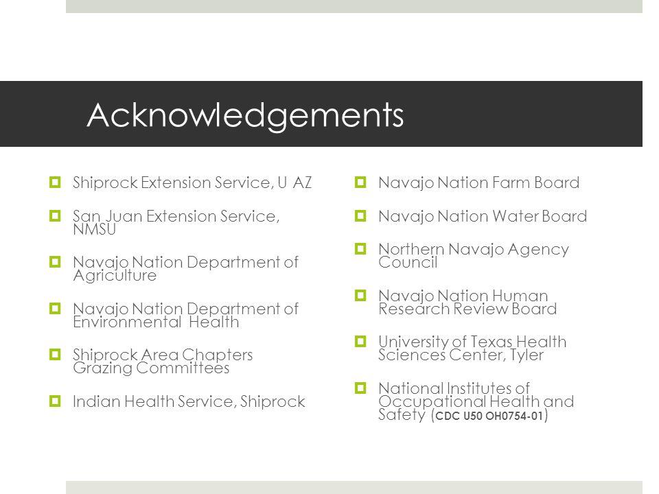 Acknowledgements  Shiprock Extension Service, U AZ  San Juan Extension Service, NMSU  Navajo Nation Department of Agriculture  Navajo Nation Depar