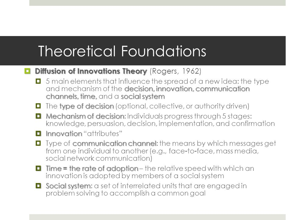 Theoretical Foundations  Diffusion of Innovations Theory  Diffusion of Innovations Theory (Rogers, 1962) decision, innovation, communication channel