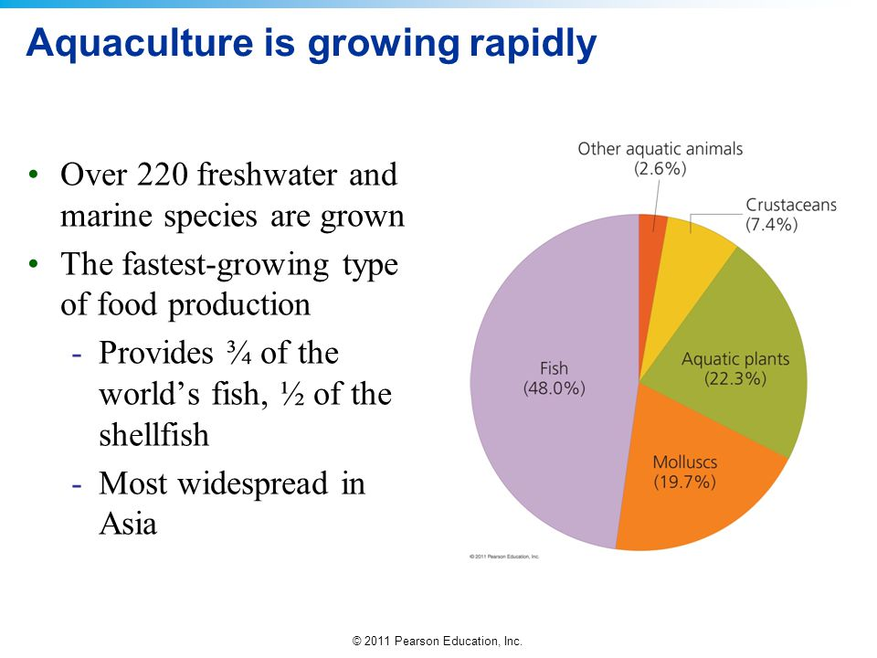 © 2011 Pearson Education, Inc. Aquaculture is growing rapidly Over 220 freshwater and marine species are grown The fastest-growing type of food produc
