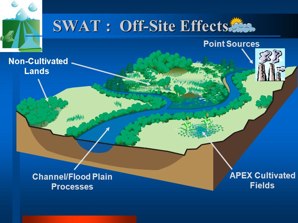 Non-Cultivated Lands Channel/Flood Plain Processes Point Sources APEX Cultivated Fields SWAT : Off-Site Effects