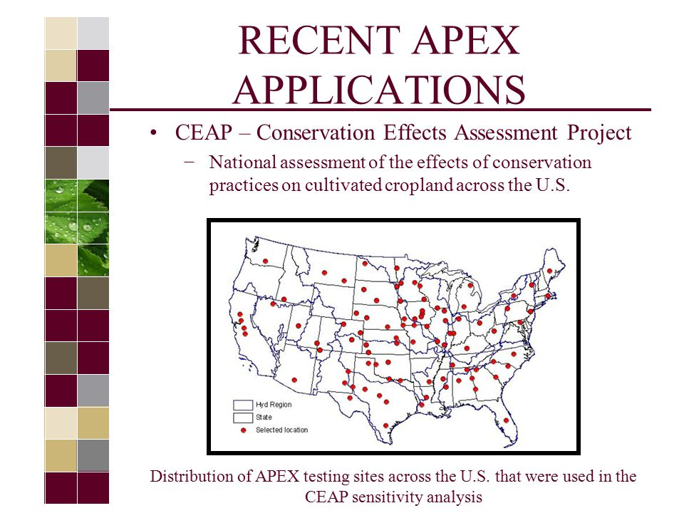 RECENT APEX APPLICATIONS CEAP – Conservation Effects Assessment Project −National assessment of the effects of conservation practices on cultivated cropland across the U.S.