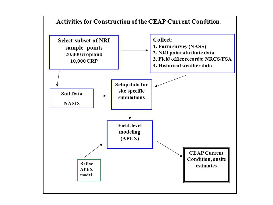 Activities for Construction of the CEAP Current Condition.