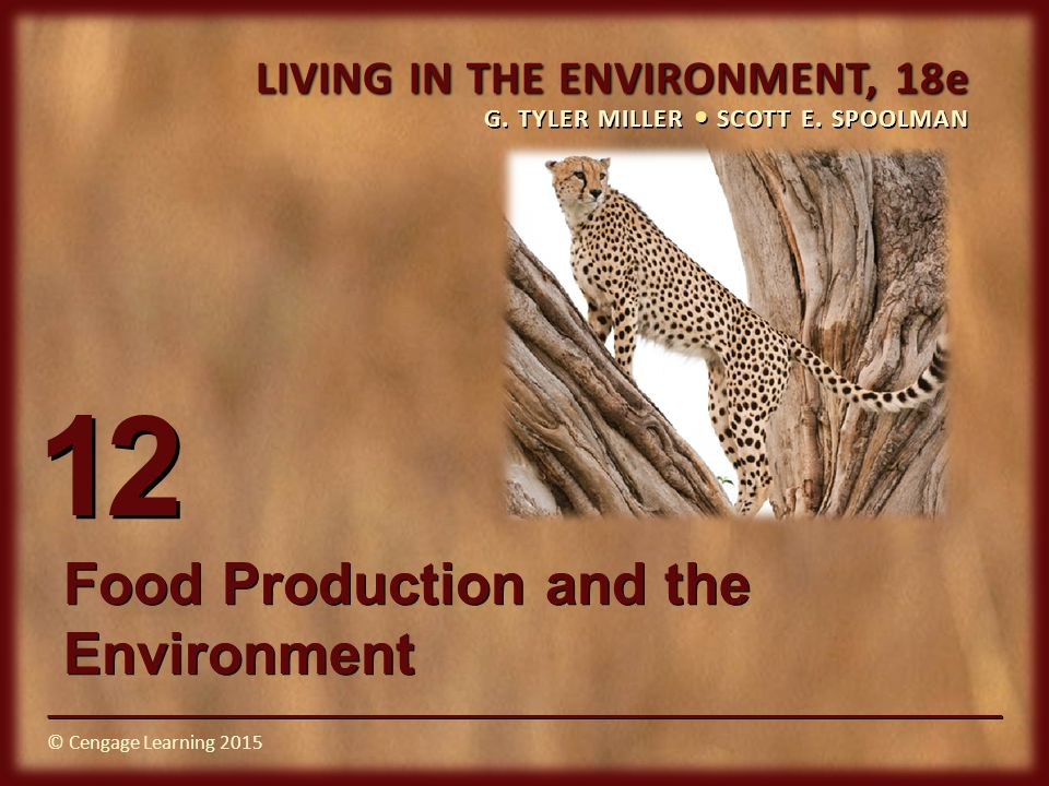© Cengage Learning 2015 LIVING IN THE ENVIRONMENT, 18e G. TYLER MILLER SCOTT E. SPOOLMAN © Cengage Learning 2015 12 Food Production and the Environmen