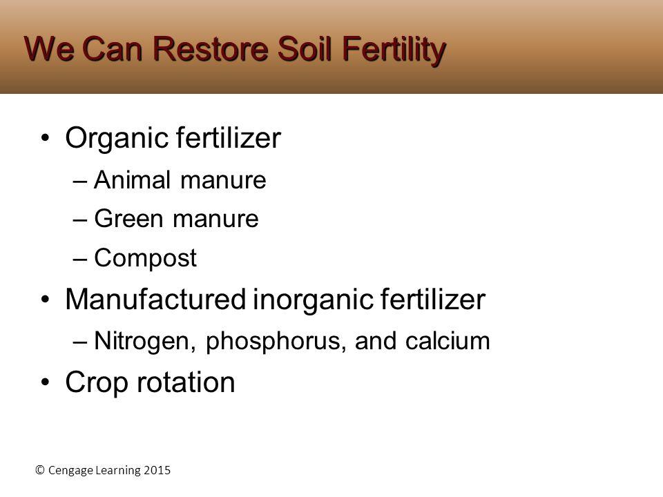 © Cengage Learning 2015 Organic fertilizer –Animal manure –Green manure –Compost Manufactured inorganic fertilizer –Nitrogen, phosphorus, and calcium