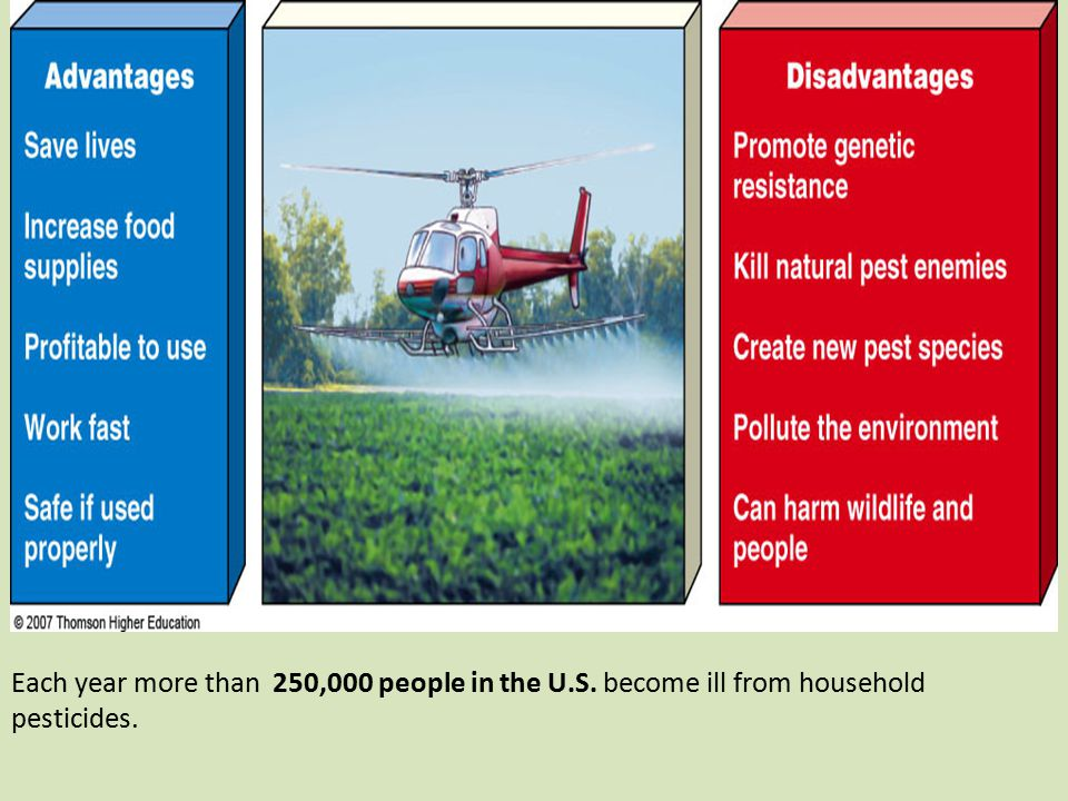 Each year more than 250,000 people in the U.S. become ill from household pesticides.