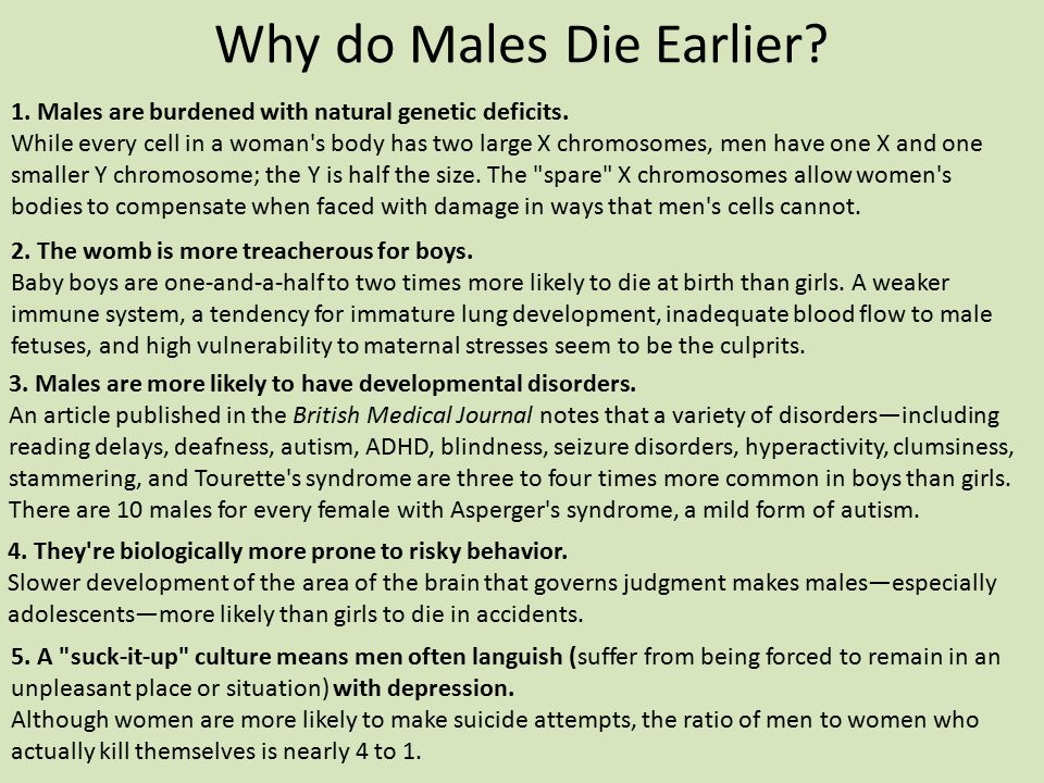 Why do Males Die Earlier? 1. Males are burdened with natural genetic deficits. While every cell in a woman's body has two large X chromosomes, men hav