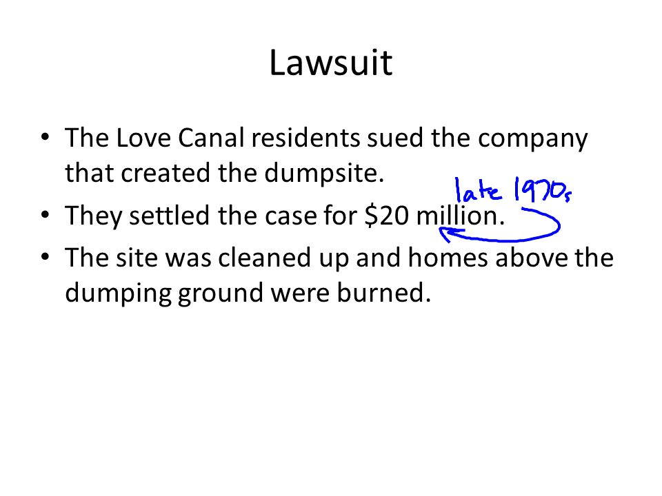 Lawsuit The Love Canal residents sued the company that created the dumpsite.