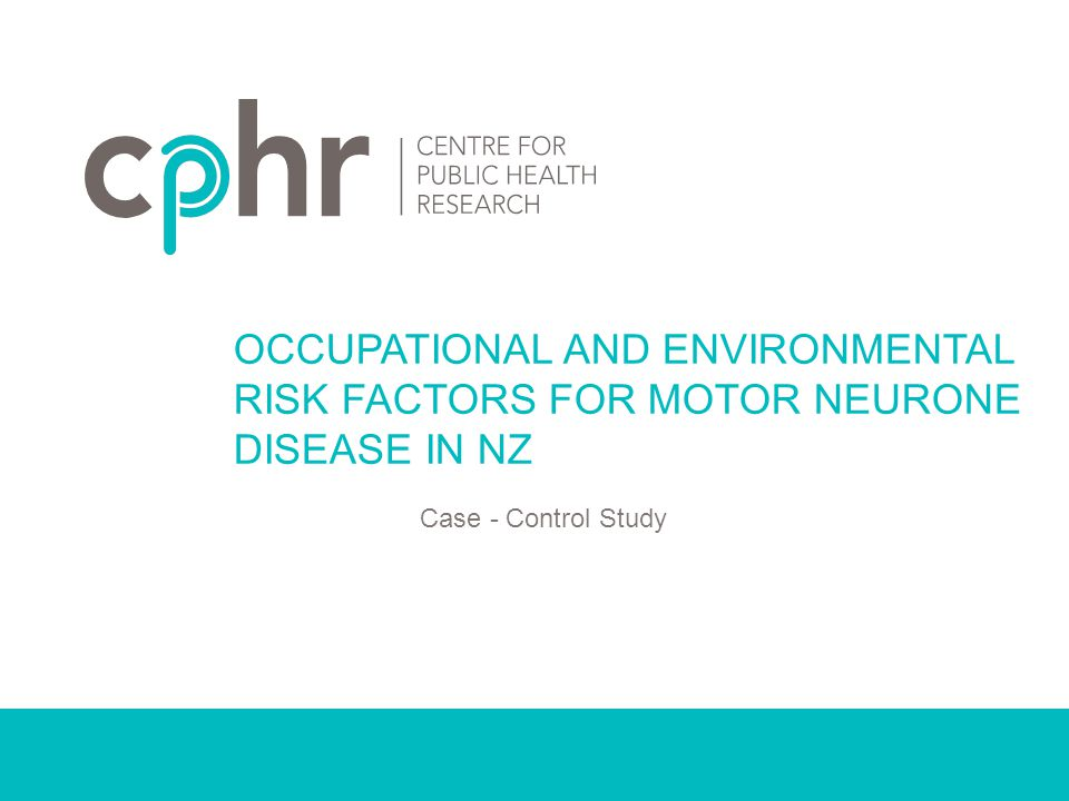 INTERNATIONAL STUDY - 3 Workplace exposure and ALS American case control study, Fang, et al,2009 109 cases and 253 control (3 years) Compare detailed occupation and workplace exposure Result: OCCUPATIONAL AND ENVIRONMENTAL RISK FACTORS FOR MOTOR NEURON DISEASE OccupationOR (95% CI) Precision metal workers3.5 (1.2-10.5) Construction workers2.9 (1.2-7.2)