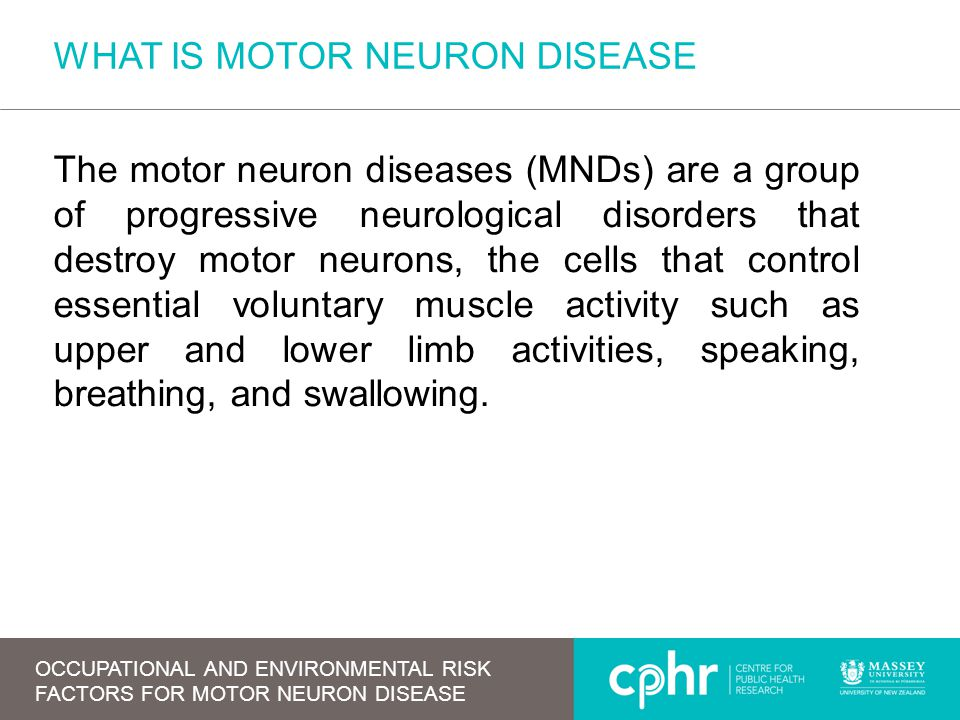 WHAT IS MOTOR NEURON DISEASE The motor neuron diseases (MNDs) are a group of progressive neurological disorders that destroy motor neurons, the cells