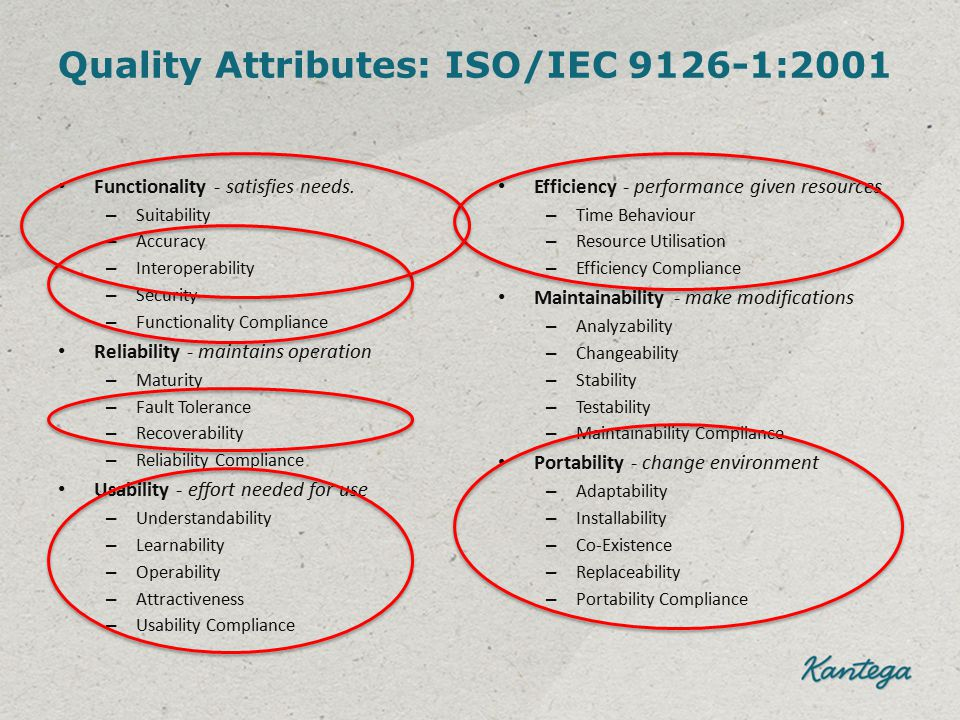 Quality Attributes: ISO/IEC 9126-1:2001 Functionality - satisfies needs. – Suitability – Accuracy – Interoperability – Security – Functionality Compli