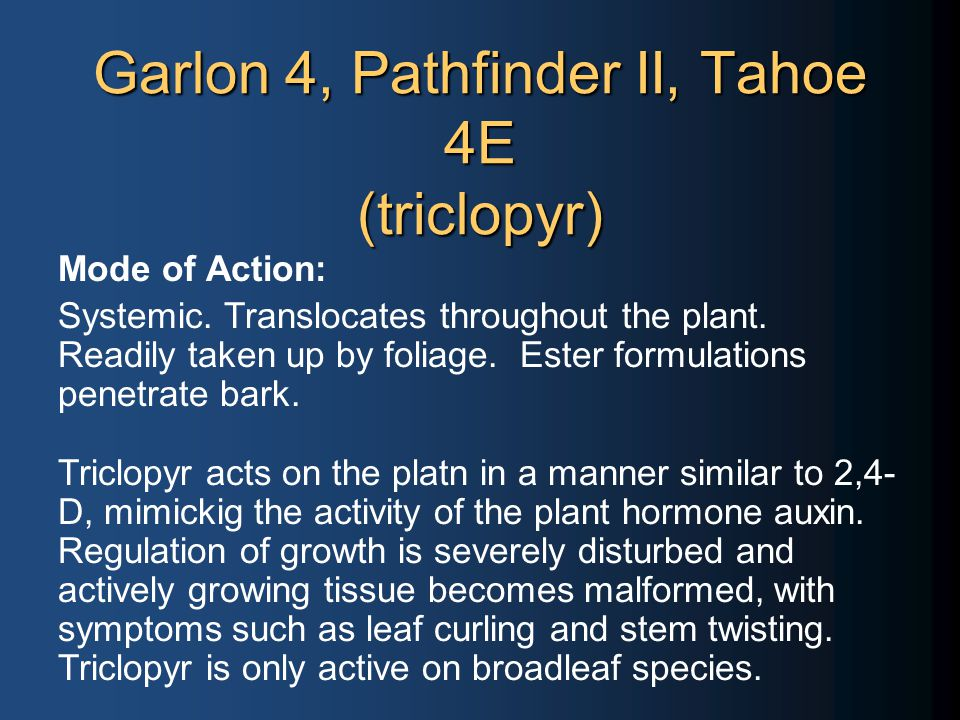 Garlon 4, Pathfinder II, Tahoe 4E (triclopyr) Mode of Action: Systemic.