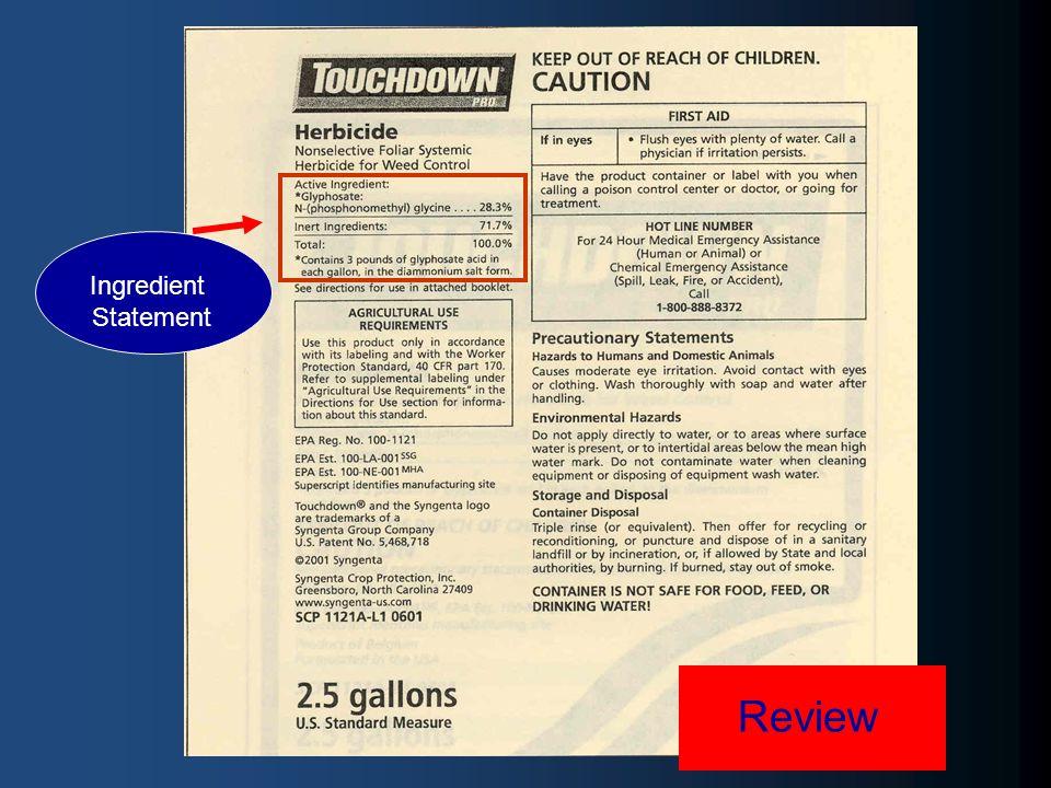 Review Ingredient Statement
