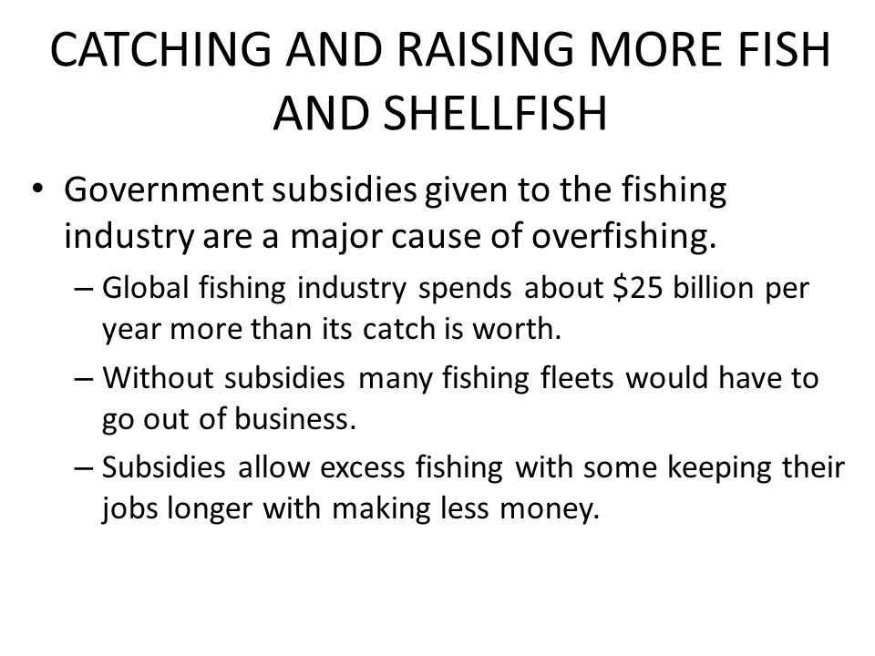 CATCHING AND RAISING MORE FISH AND SHELLFISH Government subsidies given to the fishing industry are a major cause of overfishing.