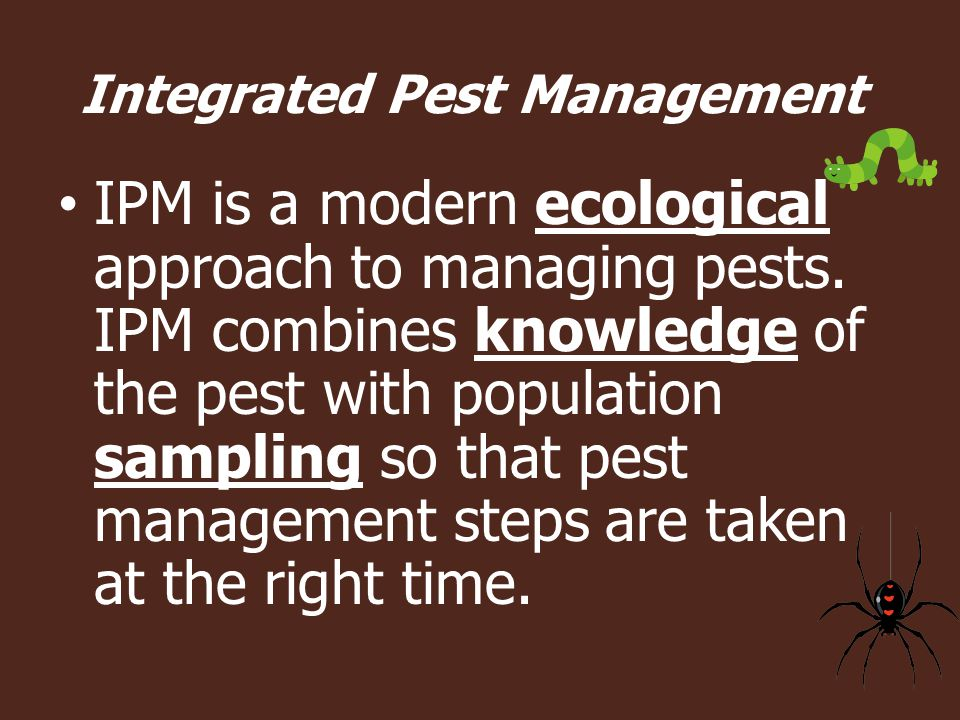 IPM is a modern ecological approach to managing pests.