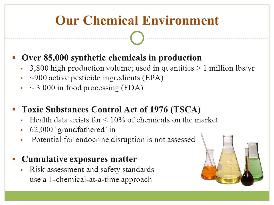 Our Chemical Environment  Over 85,000 synthetic chemicals in production  3,800 high production volume; used in quantities > 1 million lbs/yr  ~900 active pesticide ingredients (EPA)  ~ 3,000 in food processing (FDA)  Toxic Substances Control Act of 1976 (TSCA)  Health data exists for < 10% of chemicals on the market  62,000 'grandfathered' in  Potential for endocrine disruption is not assessed  Cumulative exposures matter  Risk assessment and safety standards use a 1-chemical-at-a-time approach