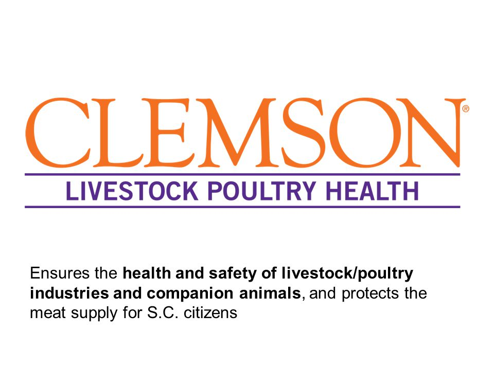 Ensures the health and safety of livestock/poultry industries and companion animals, and protects the meat supply for S.C.