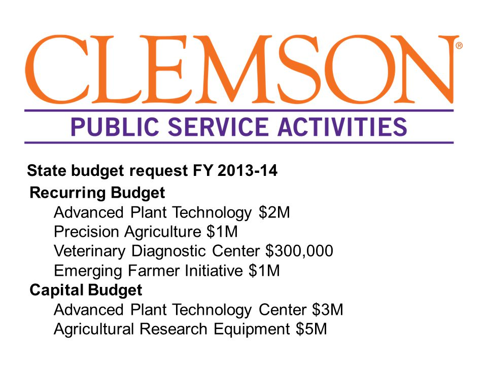 Recurring Budget Advanced Plant Technology $2M Precision Agriculture $1M Veterinary Diagnostic Center $300,000 Emerging Farmer Initiative $1M Capital Budget Advanced Plant Technology Center $3M Agricultural Research Equipment $5M State budget request FY 2013-14