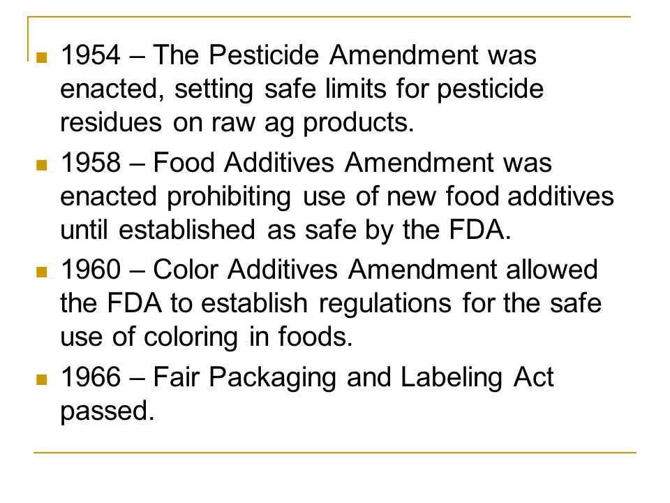 State/Local Governments Usually have specific laws regarding food processing, storage, and sale.