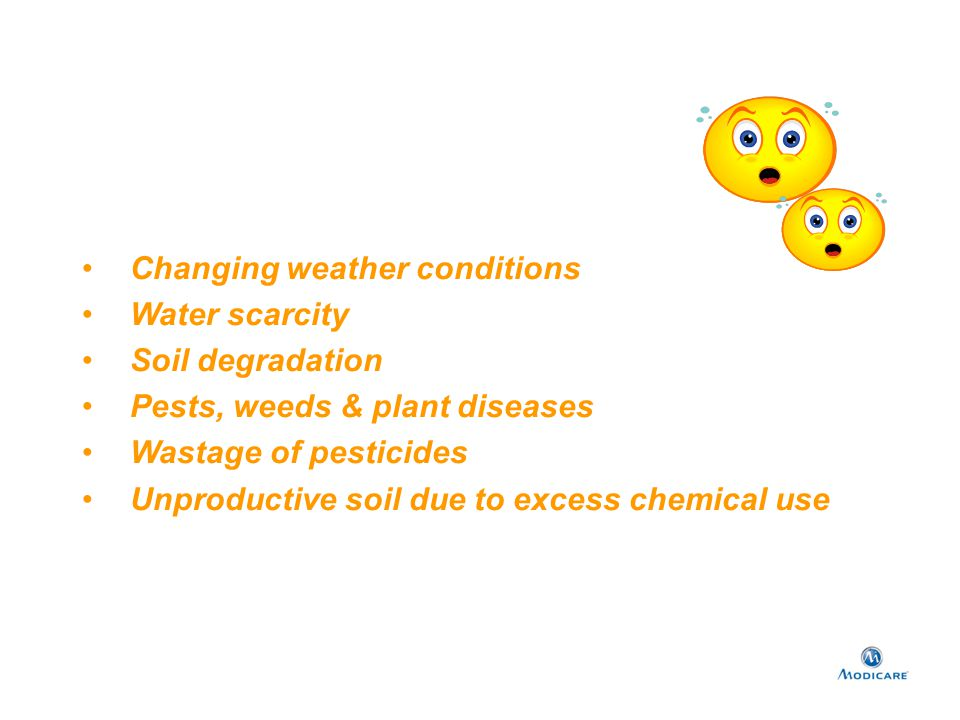 Changing weather conditions Water scarcity Soil degradation Pests, weeds & plant diseases Wastage of pesticides Unproductive soil due to excess chemic