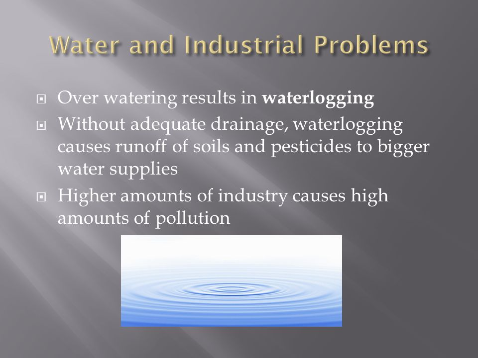  Over watering results in waterlogging  Without adequate drainage, waterlogging causes runoff of soils and pesticides to bigger water supplies  Higher amounts of industry causes high amounts of pollution