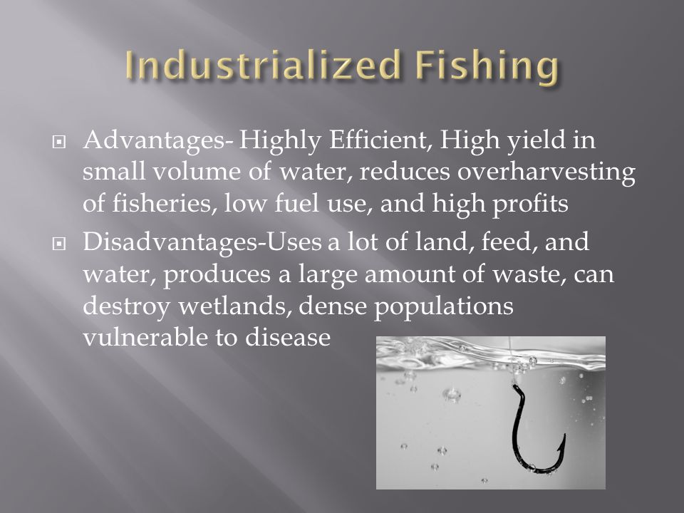  Advantages- Highly Efficient, High yield in small volume of water, reduces overharvesting of fisheries, low fuel use, and high profits  Disadvantages-Uses a lot of land, feed, and water, produces a large amount of waste, can destroy wetlands, dense populations vulnerable to disease