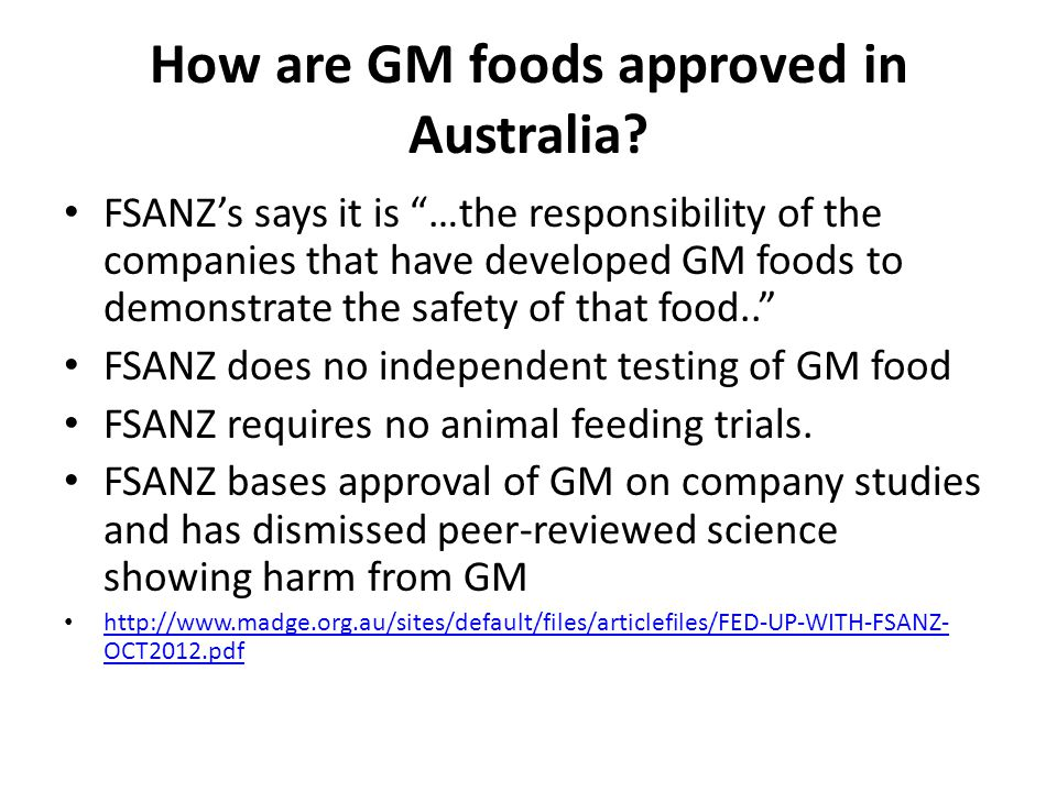 How are GM foods approved in Australia.