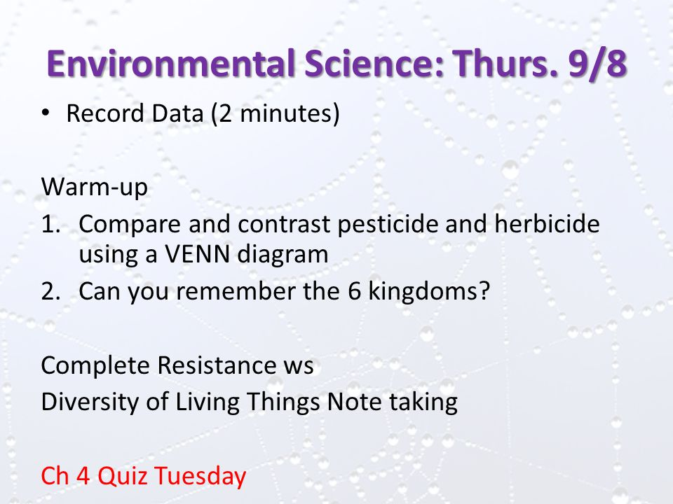 Environmental Science: Thurs.