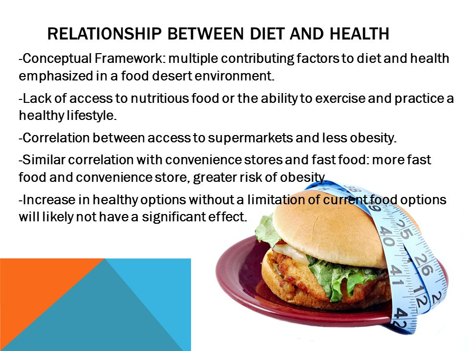 RELATIONSHIP BETWEEN DIET AND HEALTH -Conceptual Framework: multiple contributing factors to diet and health emphasized in a food desert environment.