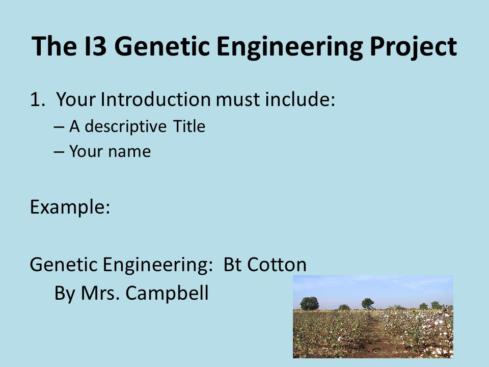 The I3 Genetic Engineering Project 1.