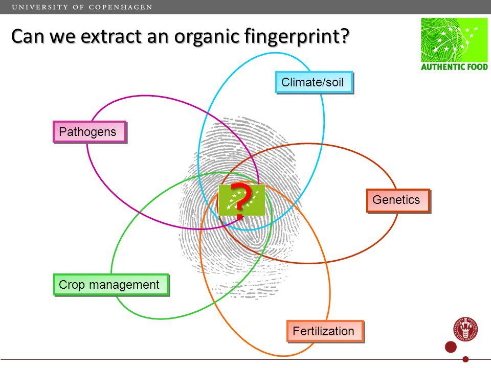 Climate/soil Crop management Fertilization Genetics Pathogens Can we extract an organic fingerprint.