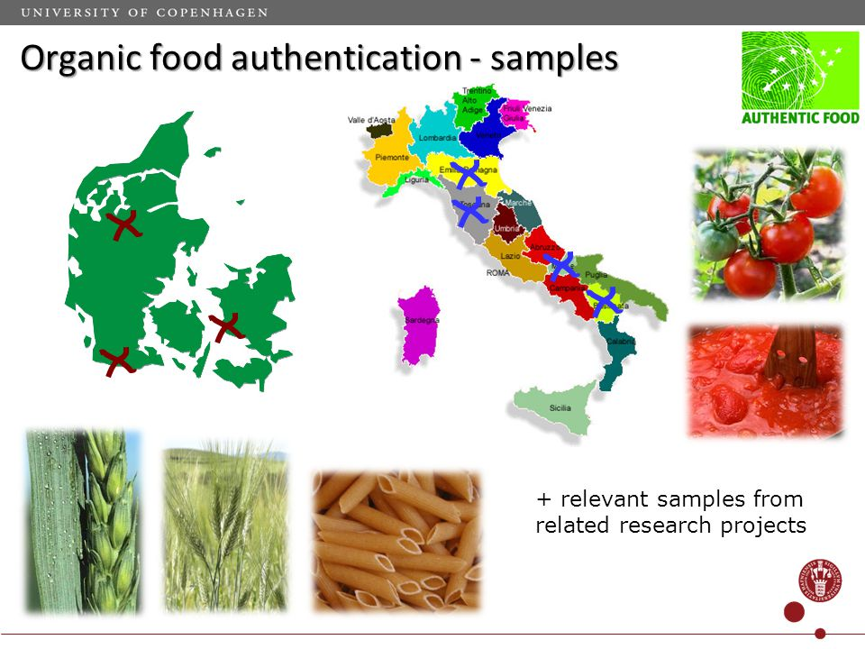 Organic food authentication - samples + relevant samples from related research projects