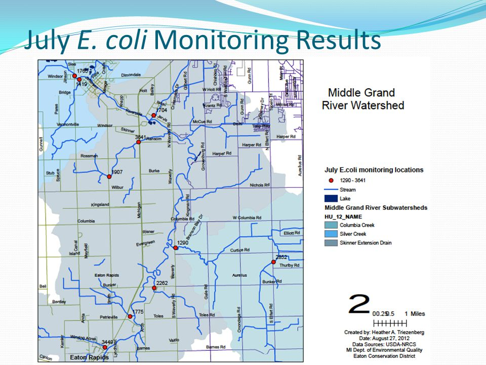 July E. coli Monitoring Results